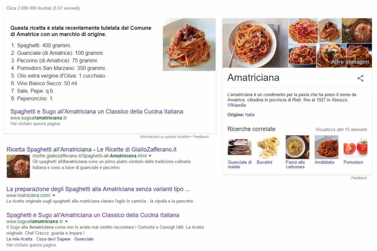 Amatriciana su Google