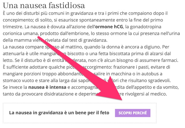 Call to action nel body text