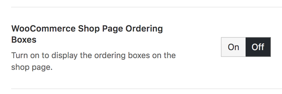 shop page ordering boxes